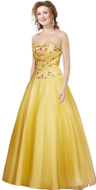 Strapless Satin Velvet Flower Ball Gown