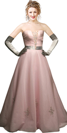 Ruched Ball Gown With Satin Belt