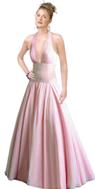Chiffon Ruched Halter Ball Gown