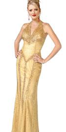 Beaded Dropped Waist Evening Dress