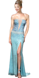 Sheer V Insert Strapless Chiffon Net Beaded Dress