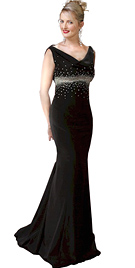 Sequinned Cowl Neck Mermaid Evening Beaded Gown