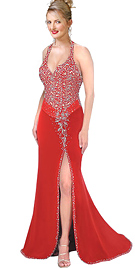 Red Velvet Halter Beaded Evening Gown
