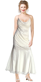 Silk Chiffon Cowl Neck Tea-length Beaded Dress