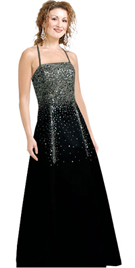 Crepe Back Satin A line Beaded Dress