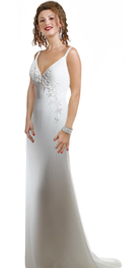 Deep �V� Neckline Bridal Gowns With Delicate Spaghetti Straps Silky Satin Wedding Gown