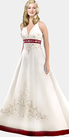 V-shaped Halter Satin Bridal Gown