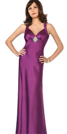 Brooch Accented Bridesmaid Gown