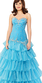 Strapless Frilled Ball Gown
