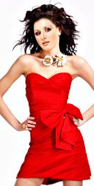 Asymmetrically Pleated Valentine Day Dress | Buy Red Short Dress