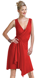 V-neck Upper Knee Jersey Dress Has Back Overlap Gather And Pleated Effect