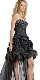 Short length Ruffled Black Cocktail Gown