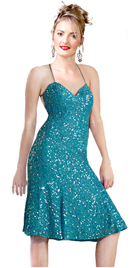 Turquoise- Silver Sequined Short Chiffon Cocktail Dress