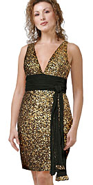 V Neck Empire Tie Up Full Sequined Dresses