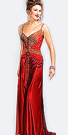 Golden Embedded Red Party Dress