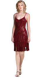 Sequined Chiffon Spaghetti V Neck Designer Dress
