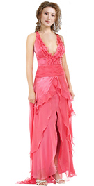 Satin Chiffon Ruffle Detail Designer Evening Dress