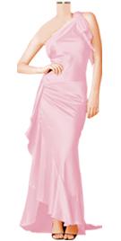 Celebrity Inspired Silk Satin One Shoulder Designer Dress
