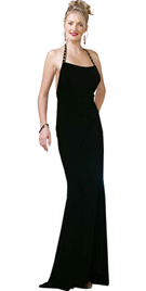 Jersey Halter Neck Studded Strap Evening Gown