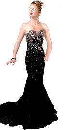 Jewel Tone Strapless Evening Gown