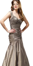 Shimmering Sleeved Ruched Mermaid Gown