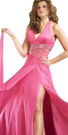 Halter Neck Gown With Deep Slit