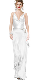 Satin Cowl Neck Gown With Waist Tie
