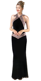 Collar Halter Beaded silky Chiffon Evening Dress
