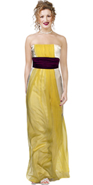 Satin Strapless Gown With Waistband