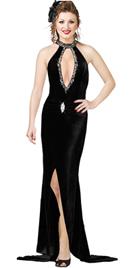 Glamorous Velvet black Halter evening Gown