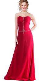 Strapless full-length hot evening gown
