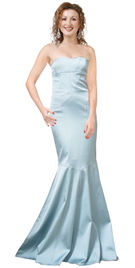 Silk Satin Angelic Gown Is Strapless Wonder In Sky Blue color