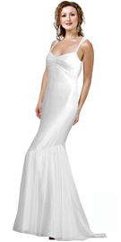 Unique Piece Of Elegance In White Silk Satin