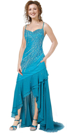 Evening Gown In Blue Chiffon And Net