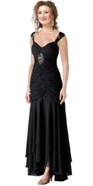 Ruched Evening Gown With Embroidery