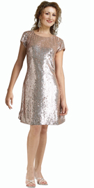 Sequined Net With Satin Short Dress