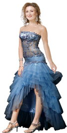 Beaded Bodice Organza Hi-Lo Skirt Dress