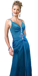 Silk Chiffon Ruched Evening Gown