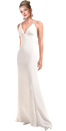 Ivory Sand Crepe Stunning Gown With Spaghetti Straps