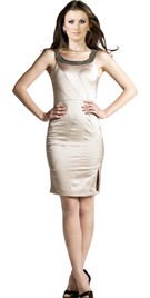 Short Beaded Neckline Office Dress | Short Office Dress