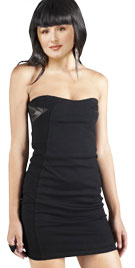 Strapless Mini Dress with Leather Combination