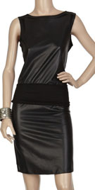 Striking Combination Leather Dress