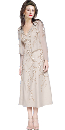 Attractively Embellished Tea Length Gown | Mother Of Bride Dresses