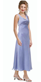 Tea length Cowl neckline gown with simple bias-cut
