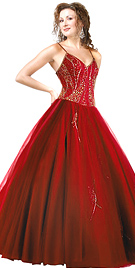 New Prominent Satin Beaded Ball Gown