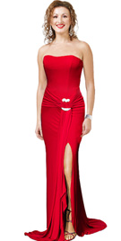 New Fitted And Flair Strapless Jersey Gown