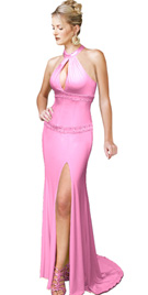 New Alluring High Collar Jersey Prom Gown