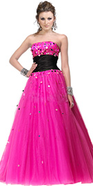 Palette accented prom gown