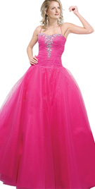 Pink beaded ball prom dress