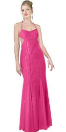 Side cutout chiffon red prom dress